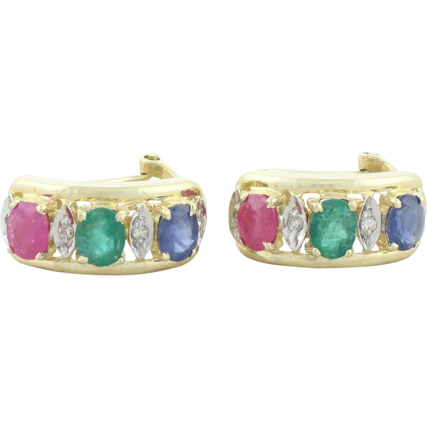 Details about  /1.3 Carat 14K Solid Gold Hoop Earrings Natural Ruby