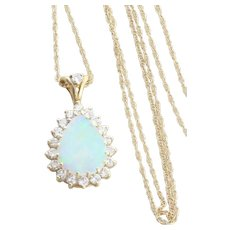 14k Yellow Gold Natural Opal and Diamond Pendant Necklace 18 inch chain