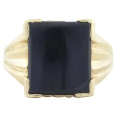 Mens 14k Yellow Gold Black Onyx Ring Size 9 3/4