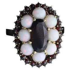 10k Yellow Gold Natural Bohemian Garnet and Opal Ring Art Deco Size 9 1/4