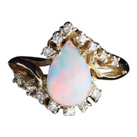 14k Yellow Gold Natural Opal and Diamond Ring Size 6 1/4