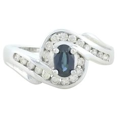 14k White Gold Natural Blue Sapphire and Diamond Ring Size 7