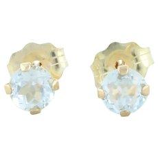 10k Yellow Gold Natural Sky Blue Topaz Earrings Stud Post Earrings
