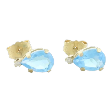 10k Yellow Gold Natural Swiss Blue Topaz and White Topaz Earrings Stud Post Earrings