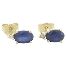 14k Yellow Gold Natural Blue Sapphire and Diamond Earrings Stud Post Earrings
