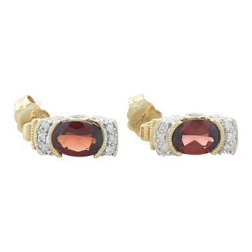 10k Yellow Gold Natural Garnet and Diamond Earrings Stud Post Earrings