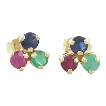 14k Yellow Gold Natural Sapphire, Ruby, Emerald Earrings Stud Post Earrings