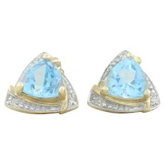 10k Yellow Gold and White Gold Natural Blue Topaz and Diamond Earrings Stud Post Earrings