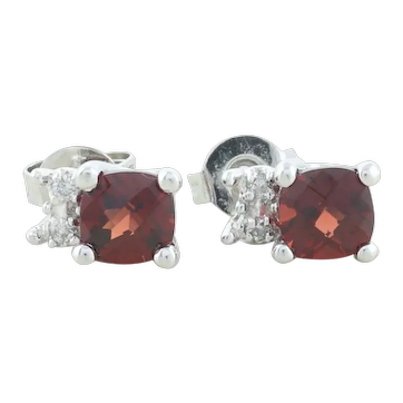 14k White Gold Natural Garnet and Diamond Earrings Stud Post Earrings
