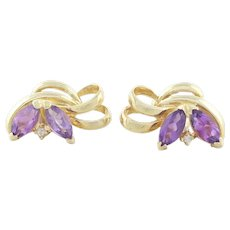 14k Yellow Gold Natural Amethyst and Diamond Stud Post Earrings