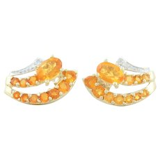 10k Yellow Gold Natural Orange Fire Opal and Diamond Earrings Stud Post Earrings