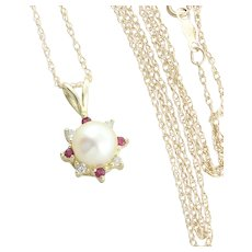 14K Yellow Gold Freshwater Pearl and Diamond and Ruby Necklace 18 inch chain