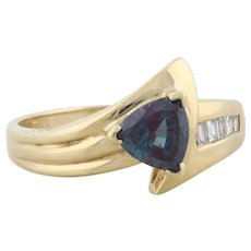 14k Yellow Gold Lab Created Alexandrite and Diamond Ring Size 6 3/4 Color Change