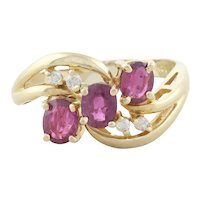 14k Yellow Gold Natural Ruby and Diamond Ring Size 6 1/2