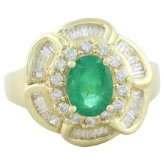 14k Yellow Gold Natural Green Emerald and Diamond Ring Size 7 1/4