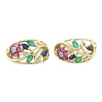 10k Yellow Gold Natural Ruby, Sapphire, Emerald and Diamond Flower Hoop Earrings