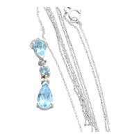 10K White Gold Natural Swiss Blue Topaz and Diamond Necklace with 18 inch chain