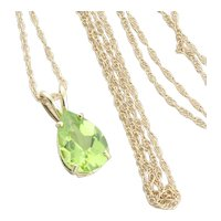 14k Yellow Gold Natural Green Peridot Necklace 18 inch chain
