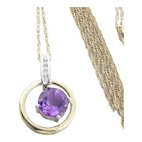 "14k Yellow Gold Natural Purple Amethyst and Diamond Necklace 19.5"" inch Chain"