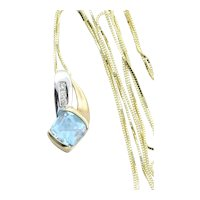 10K Yellow Gold and White Gold Natural Swiss Blue Topaz and Diamond Necklace 18 inch chain