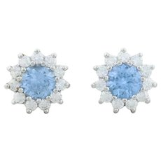 Sterling Silver Aquamarine and Cz Earrings Stud Post Earrings