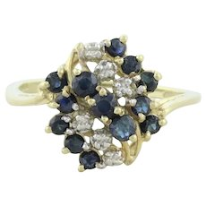 10k Yellow Gold Natural Blue Sapphire and Diamond Ring Size 7