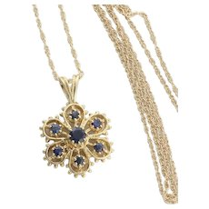 14K Yellow Gold Natural Sapphire Necklace Flower Necklace 18 inch Chain