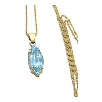 14K Yellow Gold  Natural Swiss Blue Topaz Necklace 20 inch chain