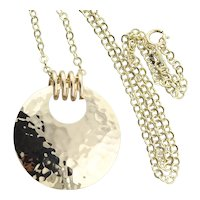 14K Yellow Gold Hammered Disk Necklace Rolo Link chain 17 inch