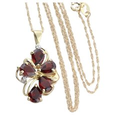 10K Yellow Gold Natural Garnet and Diamond Necklace with 18 inch chain