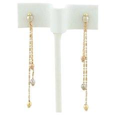 14k Yellow Gold, White Gold, Rose Gold Long Beaded Earrings Dangle Drop Earrings