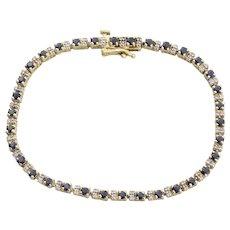 14k Yellow Gold Natural Blue Sapphire and Diamond Tennis Bracelet 7 1/4 inch long