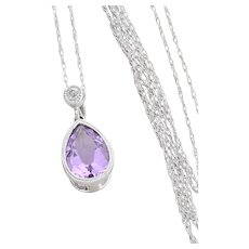 """10k White Gold Natural Purple Amethyst and Diamond Necklace 18"""" inch Chain"""
