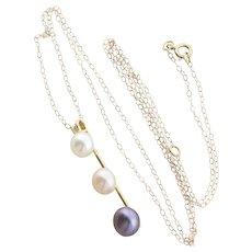 10k Yellow Gold White, Cream, Black Pearl Necklace 20 inch Chain