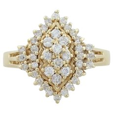14k Yellow Gold Diamond Cluster Ring Size 5 Beautiful and Sparkly