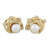 10k Yellow Gold Freshwater Pearl and Diamond Earrings Stud Post Earrings