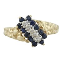 10k Yellow Gold Natural Blue Sapphire and Diamond Nugget Ring Size 6 1/2