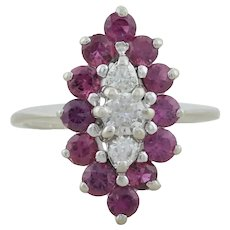 14k White Gold Natural Ruby and Diamond Ring Size 4 1/4