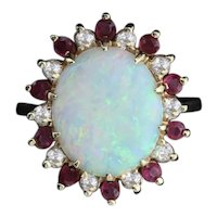 14k Yellow Gold Natural Australian Opal, Ruby and Diamond Ring Size 5 1/2