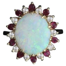 14k Yellow Gold Natural Australian Opal, Ruby and Diamond Ring Size 5 1/2