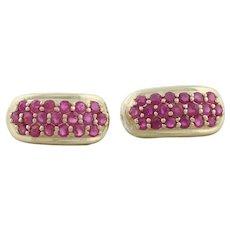 14k Yellow Gold Natural Ruby Earrings Half Hoop Earrings