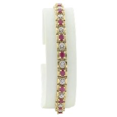 10k Yellow Gold Natural Ruby and Diamond Tennis Bracelet size 7 1/8