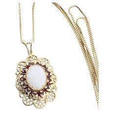 10k Yellow Gold Natural Opal and Garnet Necklace 18 inch chain