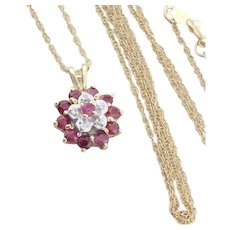 10k Yellow Gold Natural Ruby and Diamond Flower Necklace 18 inch chain