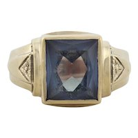 Mens  10k Yellow Gold Lab Created Purple Sapphire Ring Size 9 3/4
