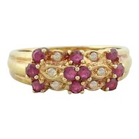 18k Yellow Gold Natural Ruby and Diamond Band Ring Size 6 1/2