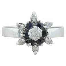 14k White Gold Natural Blue Sapphire with Diamond Ring Size 7 1/4