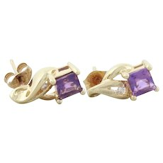 10k Yellow Gold Natural Amethyst and CZ Earrings Stud Post Earrings