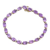 10k Yellow Gold Natural Purple Amethyst Tennis Bracelet Size 7 1/4