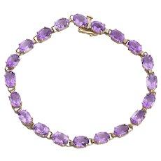10k Yellow Gold Natural Purple Amethyst Tennis Bracelet Size 7 1/4